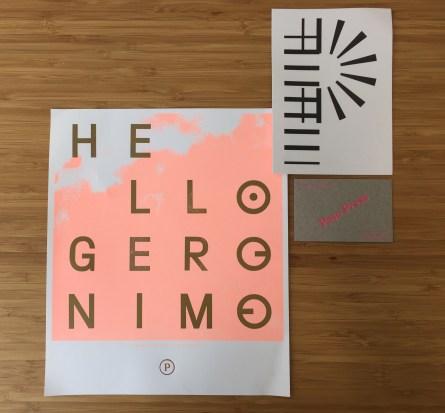 Letterpress print of Hello Geronimo made by Peso Press