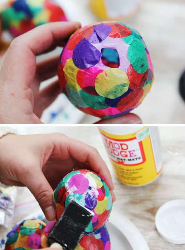 Confetti Paper Mache Easter Eggs
