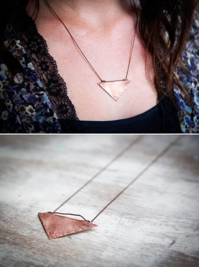 Copper Triangle Necklace - Hello Glow