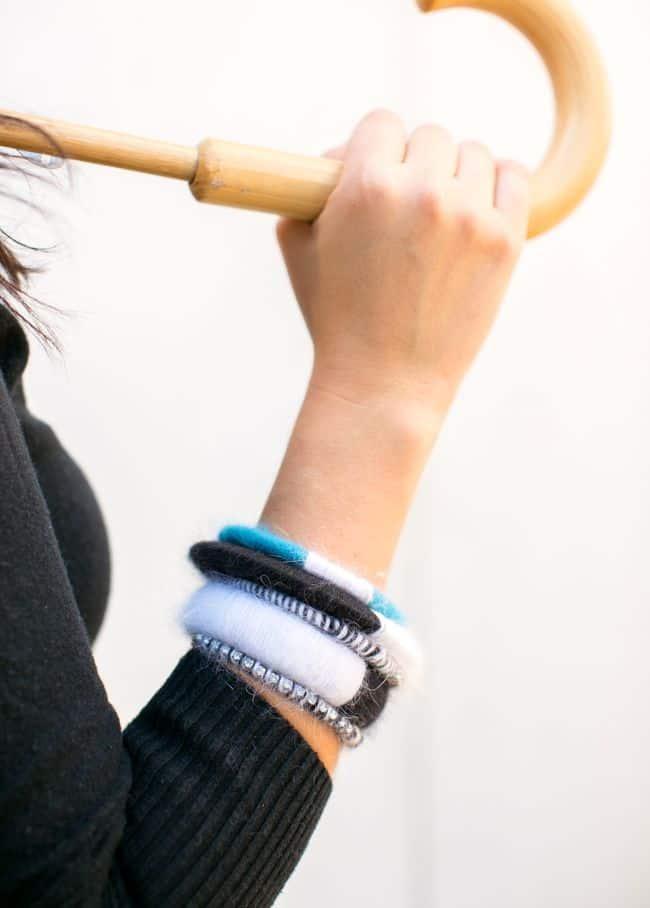 DIY Color Block Angora Bracelets | Hello Glow