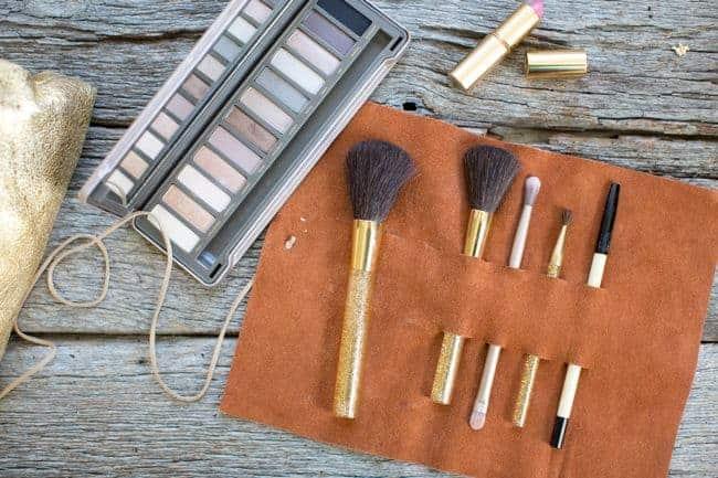 leather makeup brush holder | 15 Make-up Storage Ideas