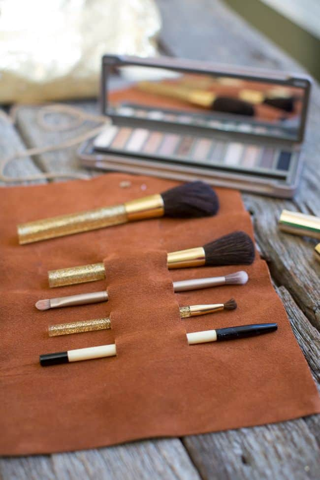 DIY Leather Brush Holder | Hello Glow