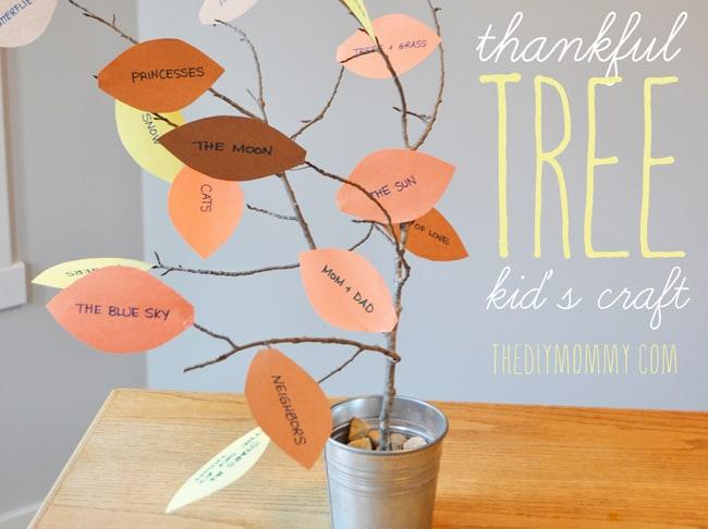 kids fall crafts thankful tree