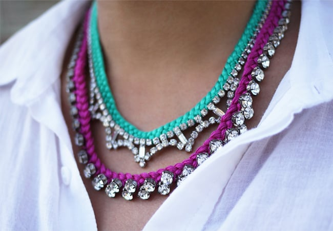 Braided rhinestone necklace | Hello Glow