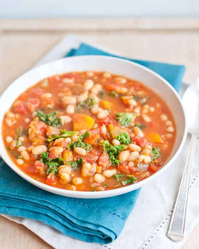 Hearty White Bean Vegetable Soup | HelloGlow.co