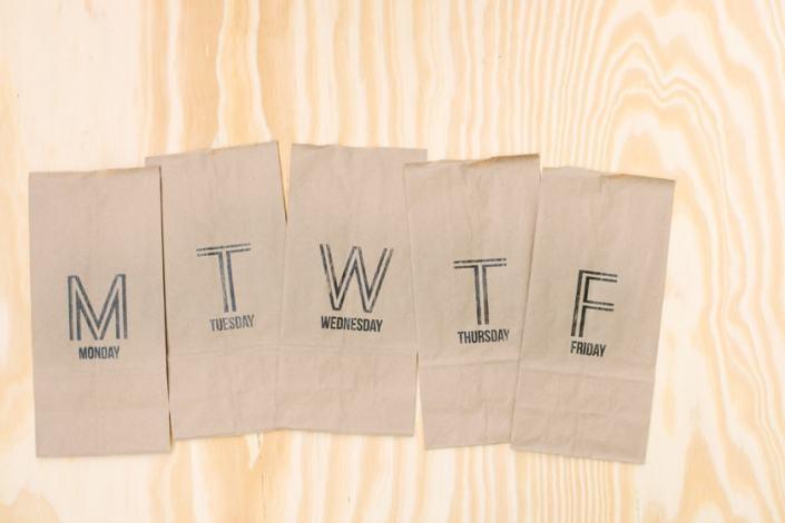 Stenciled Brown Bags
