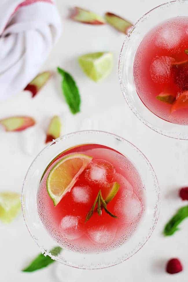 Raspberry Rhubarb Margarita   HelloGlow.co