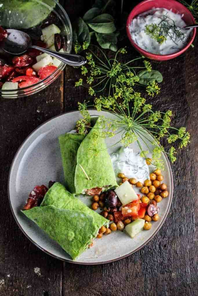 Chickpea Greek Salad + Homemade Spinach Wraps