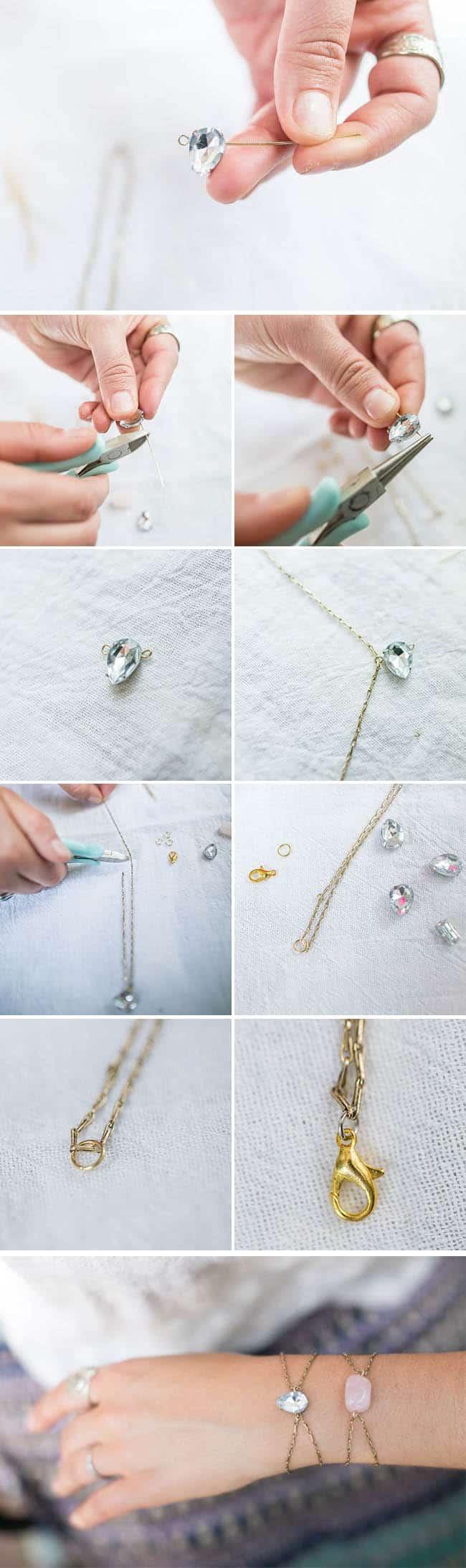 DIY Rhinestone Bracelet | HelloGlow.co