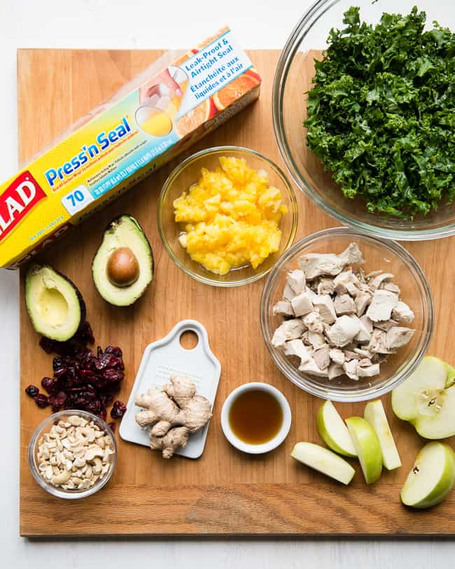 Leftover Turkey Kale Salad | HelloGlow.co