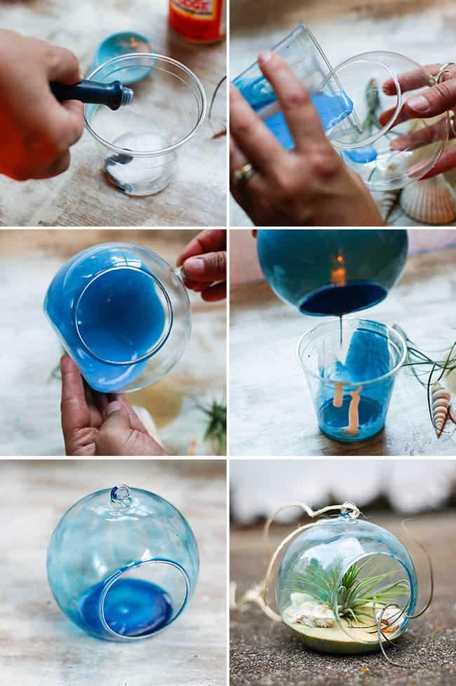 DIY Tinted Glass Beach Terrarium | Hello Glow