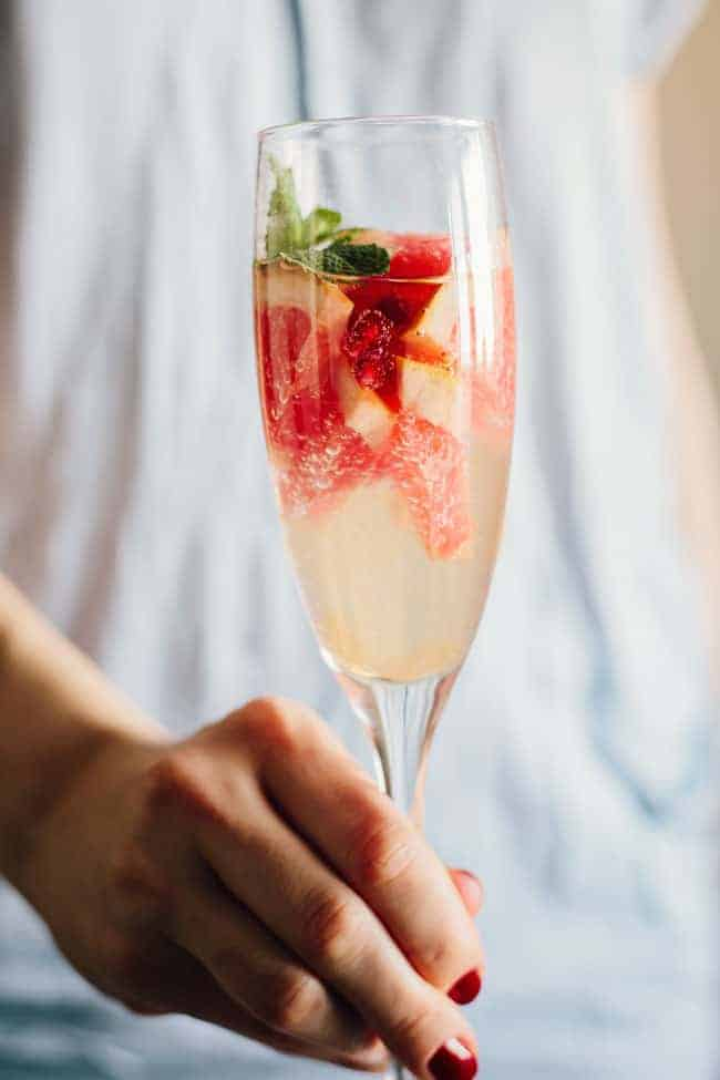 Pomegranate Grapefruit Champagne Cocktail + Turmeric Grapefruit Detox Tonic