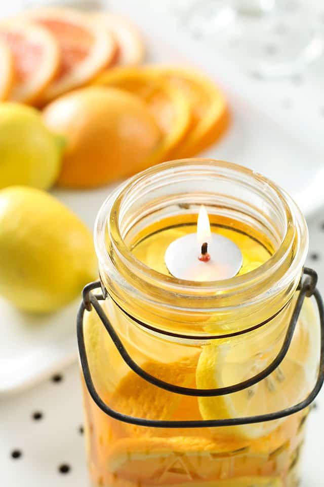Citrus and Oil Mason Jar Candles