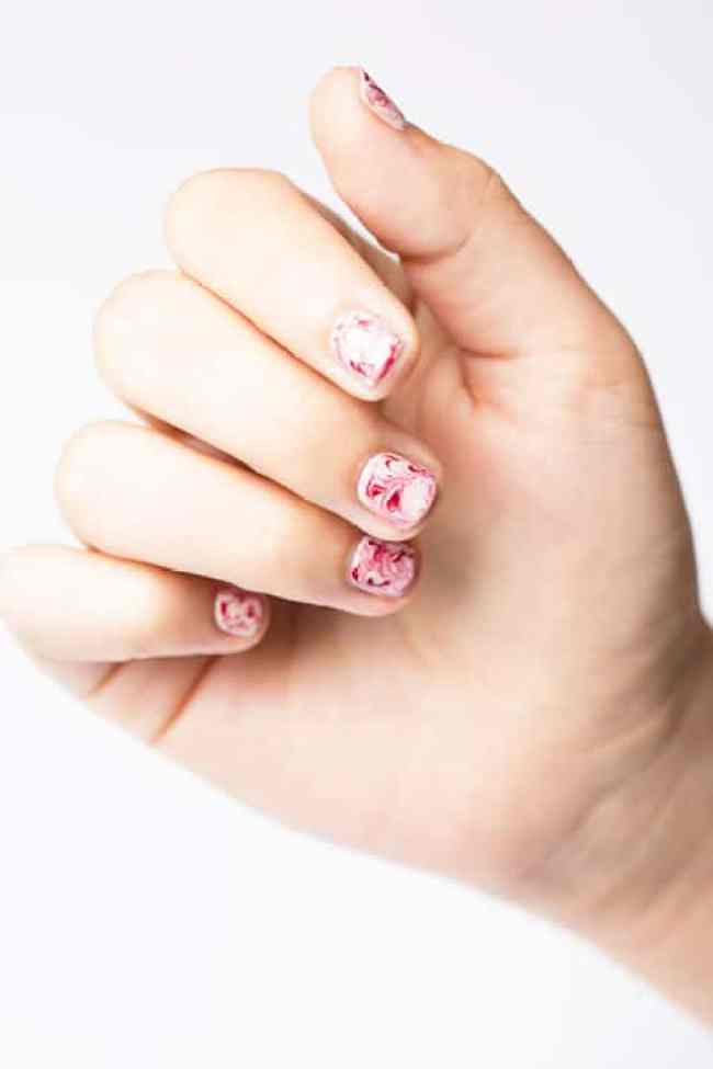 Marbled Nails by Good Housekeeping | 6 Easy Nail Ideas