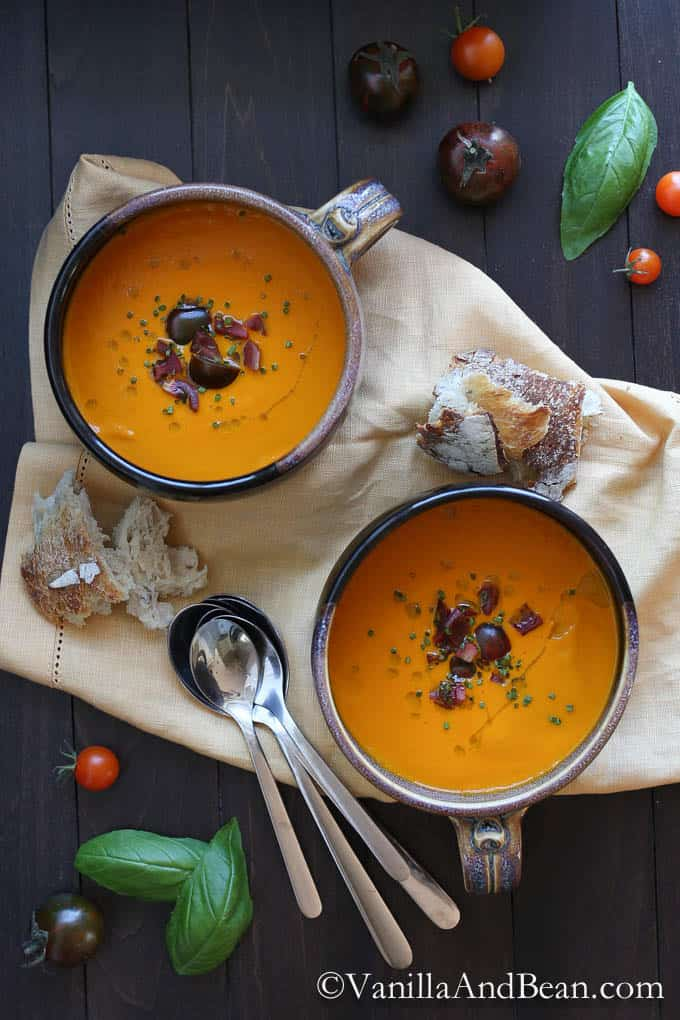 Roasted Red Bell Pepper and Heirloom Tomato Soup by Vanilla and Beam