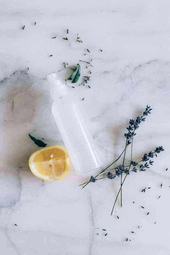 Homemade Body Spray with lavender and lemon