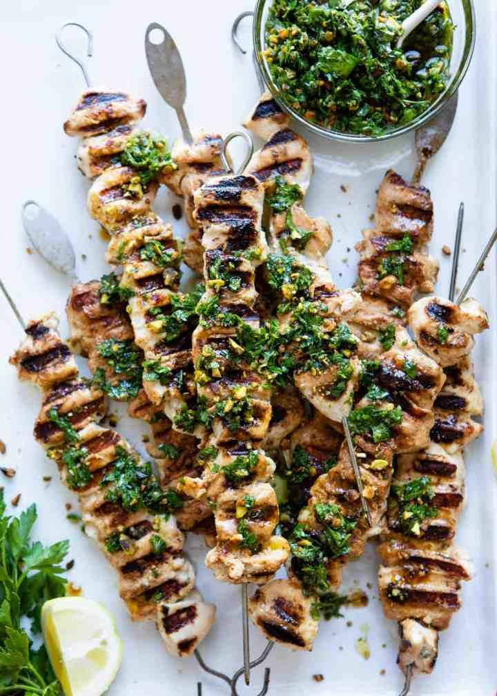 Chicken Kebabs with Pistachio Gremolata   HelloGlow.co