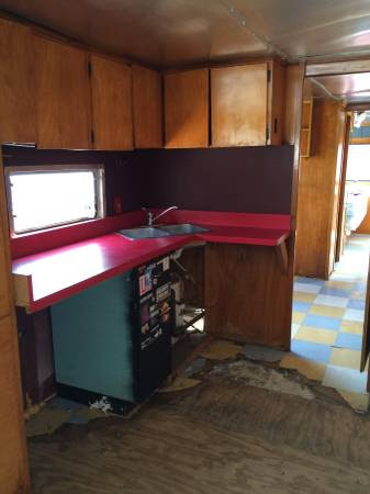 1955 spartan royal mansion kitchen - trailer renovation - trailer therapy office