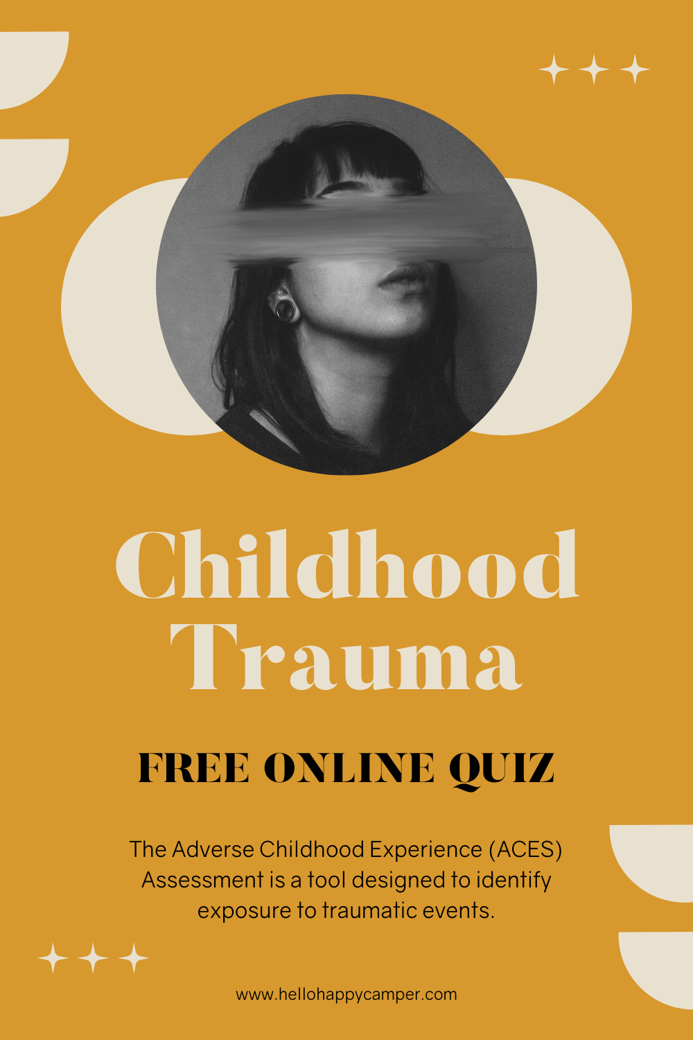 Childhood trauma poster, showing black and white photo of a girl with her face scratched out. This poster is good for sharing on Pinterest.