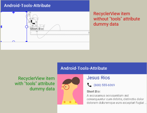 android tools attribute recyclerview item preview