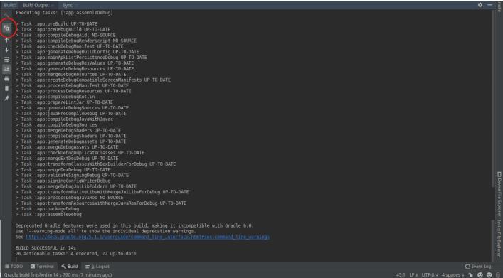 Android studio build task plain text mode