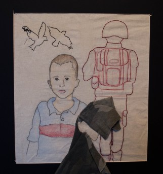 """""""I Am My Father's Soldier"""" {2016, 14 in x 16 in, Embroidery and Prismacolor}"""