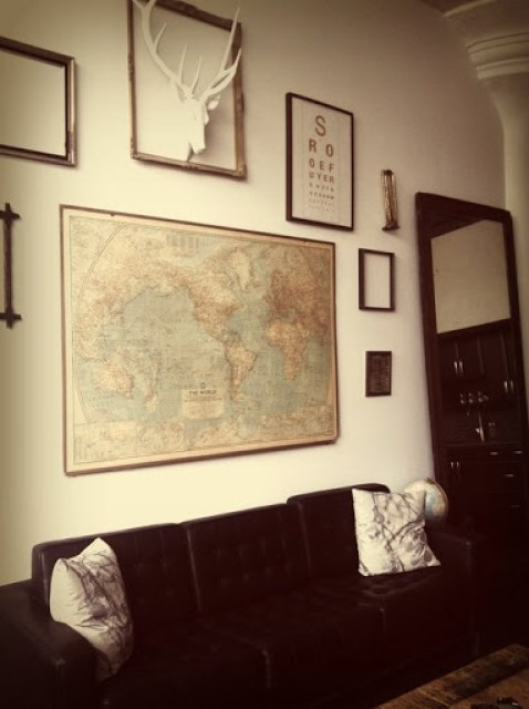 Antlers and map for male decor Rooms Revamped Interior Design