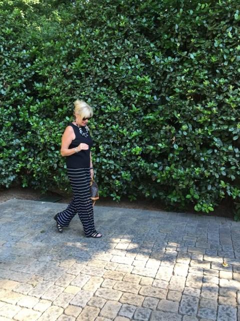 Robin loves her horizontal stripe pants