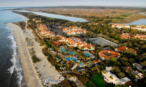 Aerial view of The Cloister Inn and Sea Island Beach Club