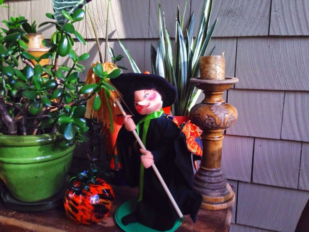 Halloween witch on the porch