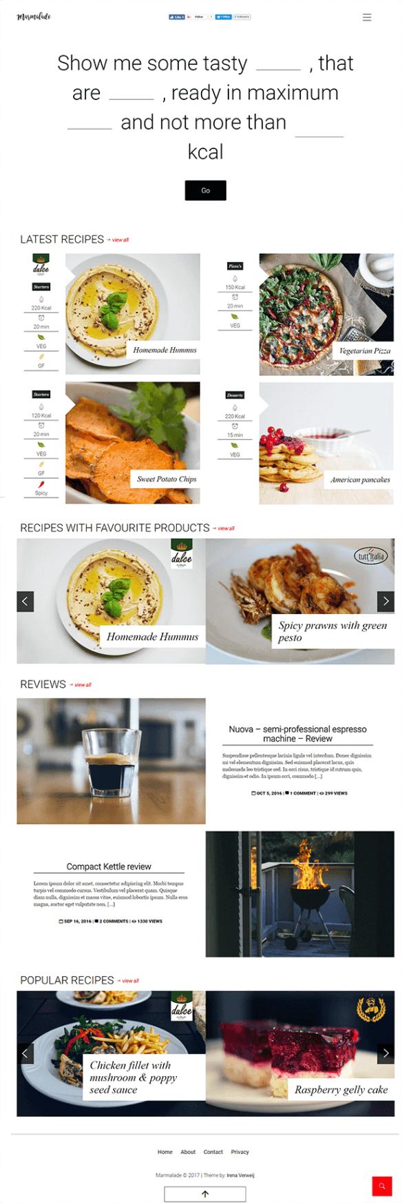 Marmalade - Modern Food Blog theme for WordPress