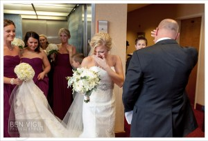 Bride and father see each other for the first time