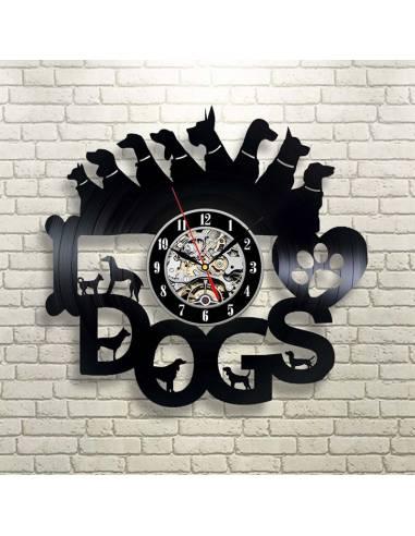 chien 03 horloge disque vinyle deco