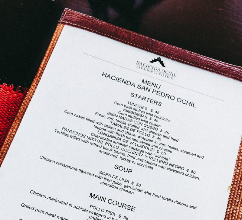 menu de restaurant San Pedro de ochil