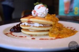 Mango Strawberry Pancakes