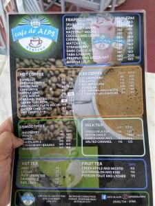 cafe de alps lipa menu