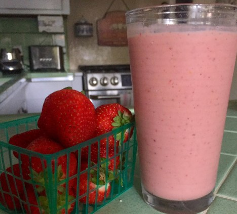 strawberries and smoothie