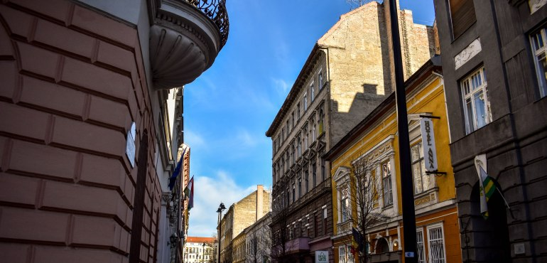 "Streets near our Airbnb in the <a href=""https://budapestflow.com/explore-jewish-quarter-budapest/"">Jewish Quarter</a>."