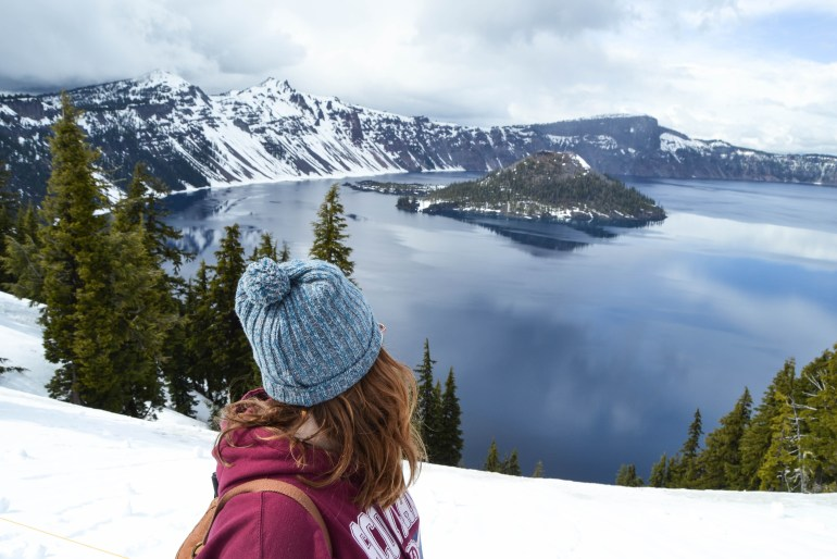 Crater Lake National Park. Wizard Island coming up out of the lake