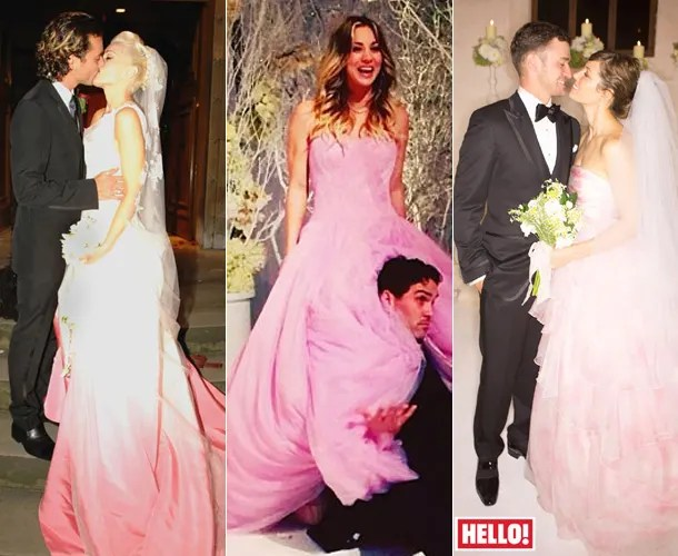 Celebrity Brides Who Wore Pink Including: Kayley Cuoco