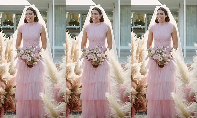Mandy Moore's Pink Wedding Dress: Needle & Thread Has A