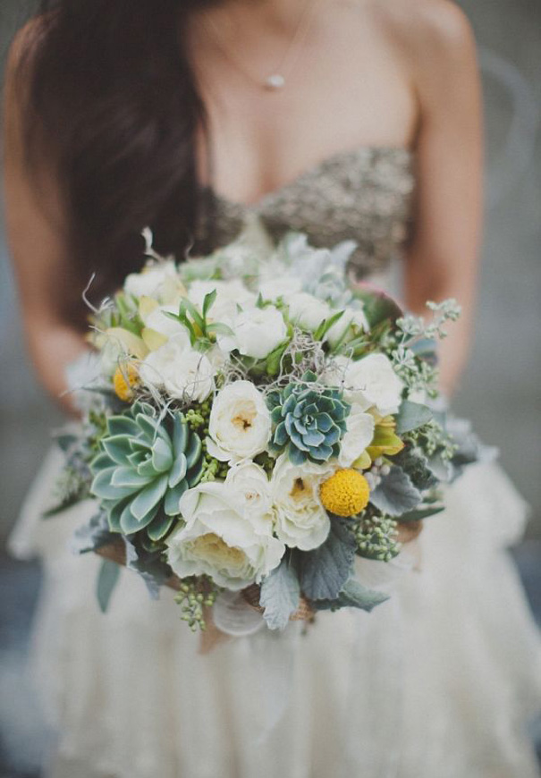 Purple And Green White Wedding Bouquet