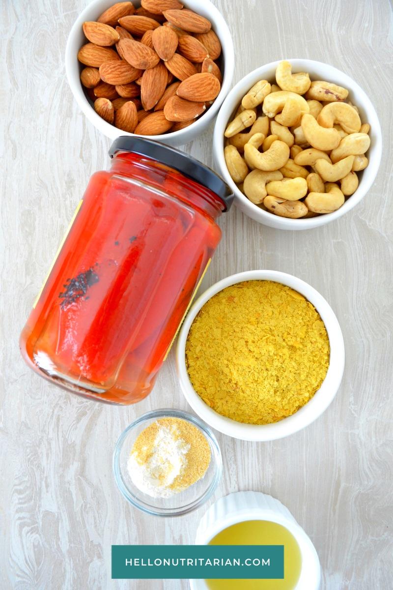 Cashew-Cheese-Sauce-Ingredients-Dr Fuhrman Eat to Live program Recipe Vitamix Cheese Sauce