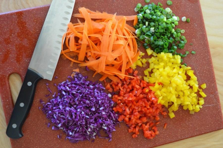 Chopped fresh veggies Dr fuhrman eat to live 6 week plan program how to be nutritarian oil free recipe no oil