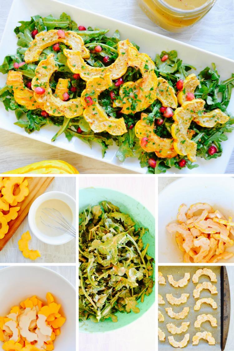 no oil delecata squash salad with no oil pumpkin balsamic vinaigrette dr fuhrman nutritarian diet eat to live plan