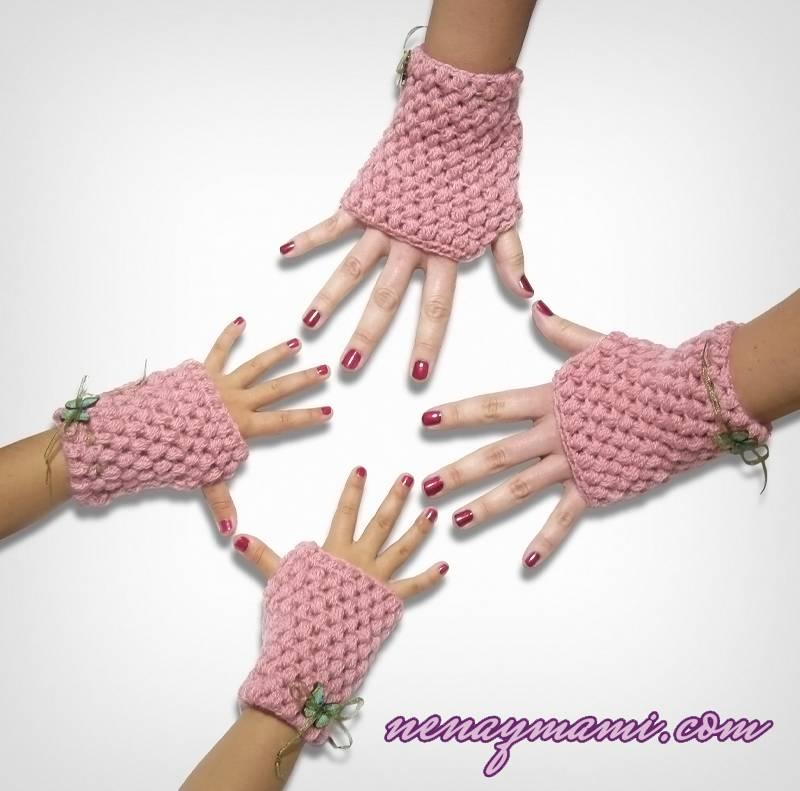 Encantador Mitones Mensajes De Texto Patrón De Crochet Colección ...