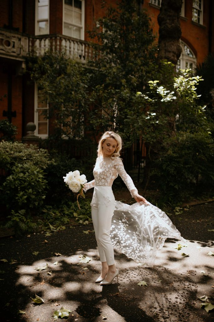 London Bride wearing Rime Arodaky pantsuit