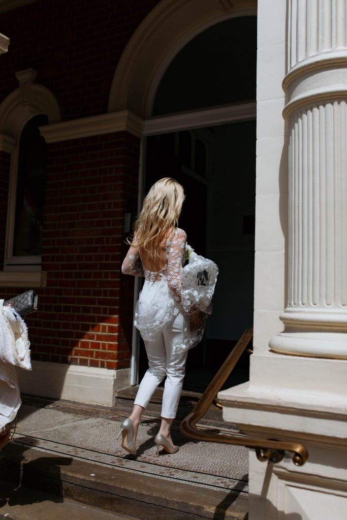 London Bride wearing Rime Arodaky pantsuit