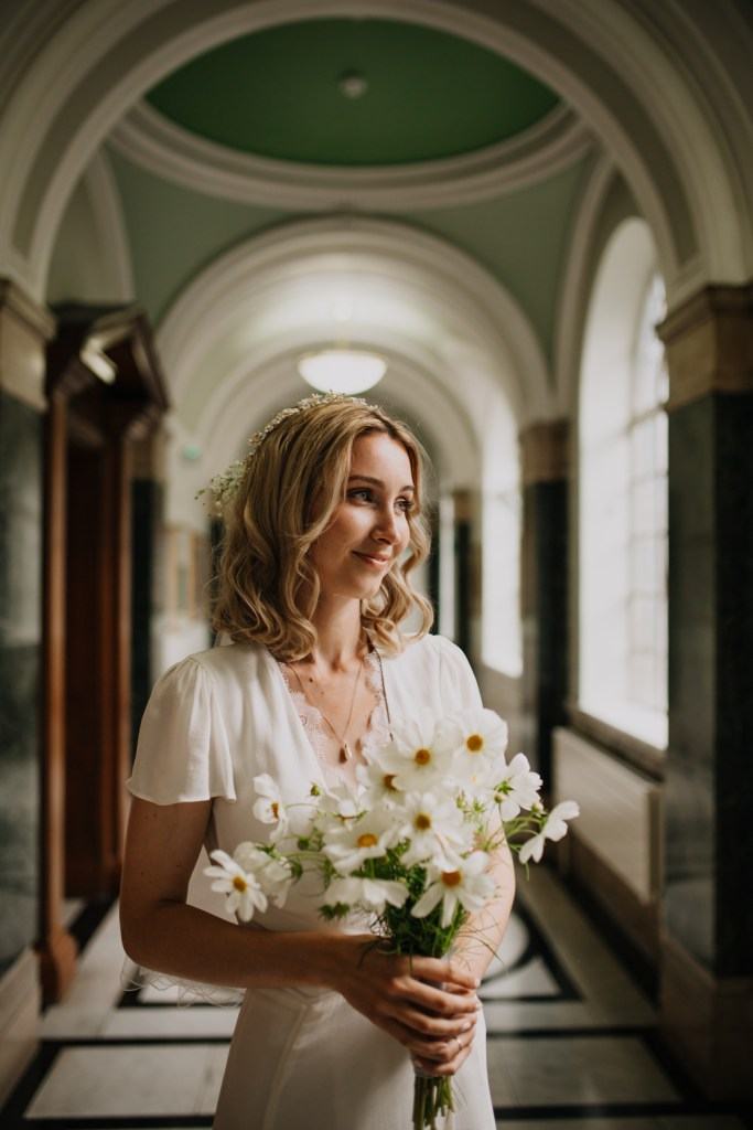 Vintage Bride with Cosmos Flowers, London