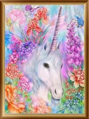 5D Diamond Painting, Full Drill Unicorn Crystals Embroidery DIY Resin Cross Stitch Kit Home Decor Craft (Unicorn in Garden)